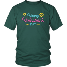 Load image into Gallery viewer, Happy Valentine's Day Tshirt Neon Sign Hearts Vday Shirt - Hundredth Monkey Tees