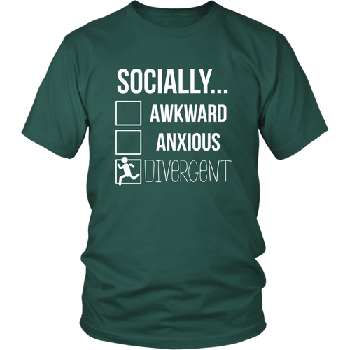 Socially Divergent Antisocial Tshirt Introvert Selective Anxiety Sarcasm Tee District Unisex Shirt / Dark Green / 4XL T-shirt