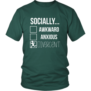Socially Divergent Antisocial Tshirt Introvert Selective Anxiety Sarcasm Tee - Hundredth Monkey Tees