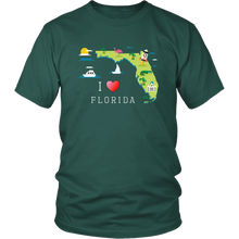 Load image into Gallery viewer, Florida Souvenir Shirt Love Home State Map T-shirt Gift - Hundredth Monkey Tees