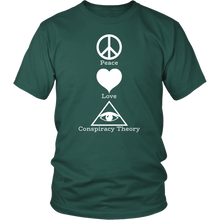 Load image into Gallery viewer, Peace Love Conspiracy Theory All Seeing Eye Tshirt - Hundredth Monkey Tees