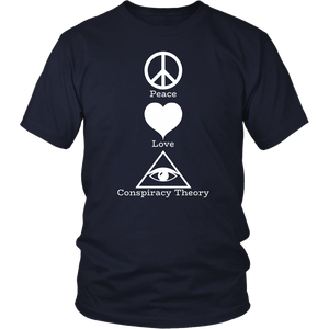 Peace Love Conspiracy Theory All Seeing Eye Tshirt - Hundredth Monkey Tees