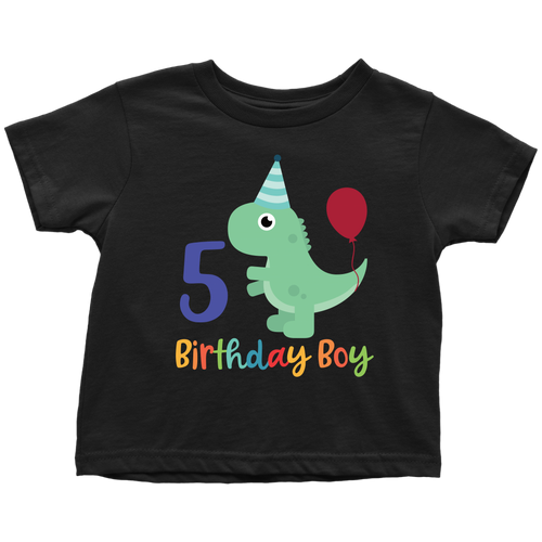 5 Year Old Birthday Boy Dinosaur Shirt - Toddler Sizes
