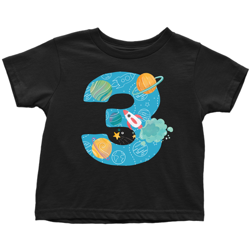 Toddler Age 3 Planets Outer Space Birthday T-shirt