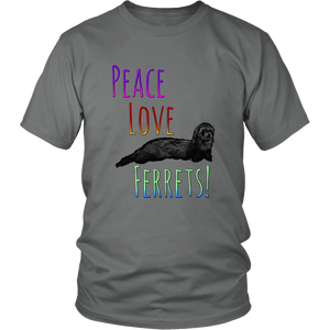 Peace Love Ferrets Cute Designs Tshirt Mens Womens - Hundredth Monkey Tees