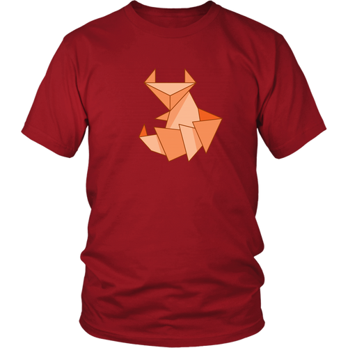 Origami Fox T-shirt Cute Paper Folding Design Orange Red Fox - Hundredth Monkey Tees