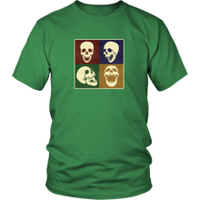 Load image into Gallery viewer, Skulls Pop Art Shirt 4 Squares Funny Laughing Skeleton T-shirt - Hundredth Monkey Tees