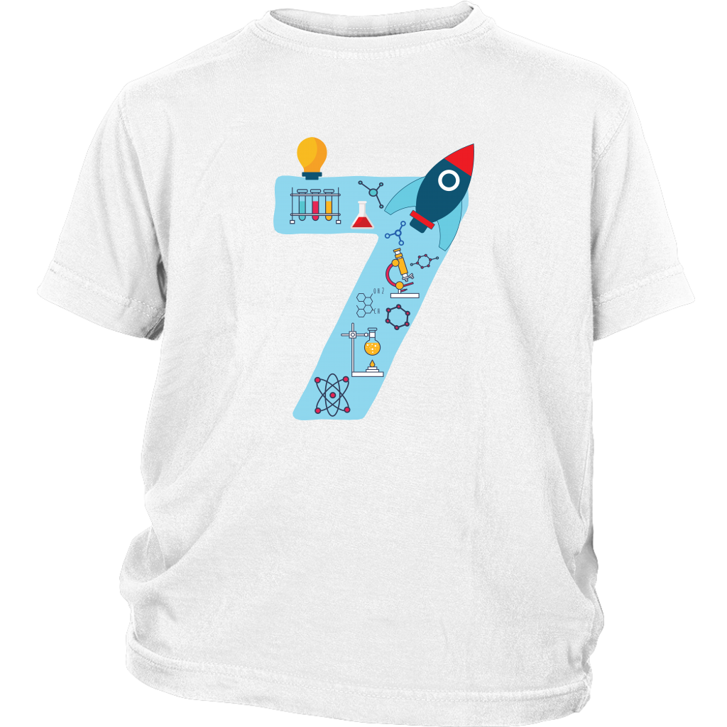 Youth Blue Number #7 Years Old Shirt Science Birthday Kids Cotton Tee
