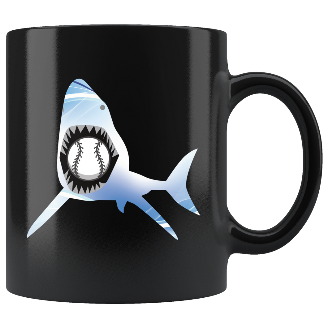 Baseball Shark Coffee Mug Sea Monster Creature Sports Gift - Hundredth Monkey Tees