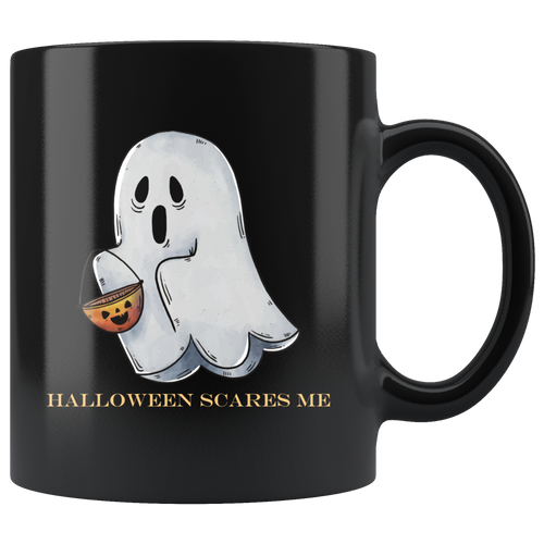 Cute Funny Ghost Halloween Scares Me Coffee Mug - Hundredth Monkey Tees