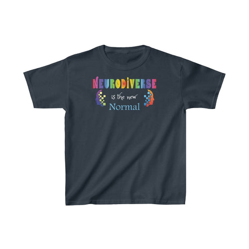 Youth Neurodiversity Shirt Celebrate Support Autism Awareness Kids Heavy Cotton Tee