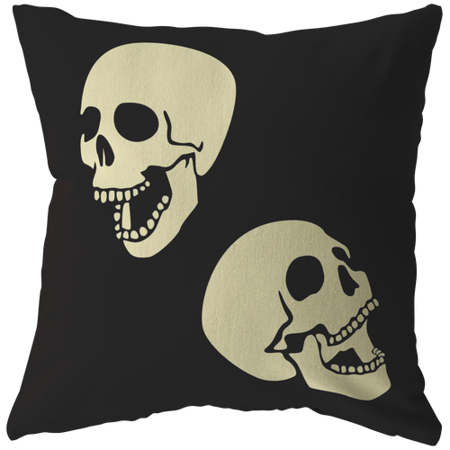 Two Laughing Skulls Throw Pillow & Cover Skeleton Halloween Cool Gift - Hundredth Monkey Tees