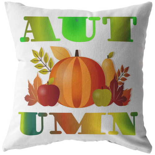 Autumn Fall Throw Pillow Word Art Seasonal Gift - Hundredth Monkey Tees