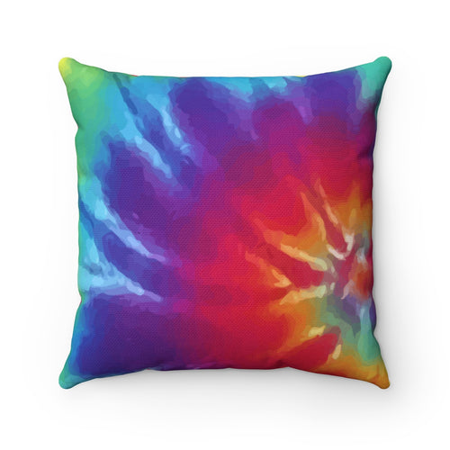 Tie Dye Rainbow Throw Pillow 60s Hippie Retro Watercolor Spun Polyester Square - Hundredth Monkey Tees
