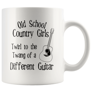 Old School Country Girls Funny Coffee Mug Music Guitar Lovers - Hundredth Monkey Tees