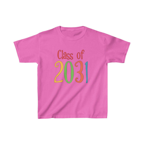 Youth Shirt Class of 2031 Graduation Boys Girls Grade School Kids - Hundredth Monkey Tees