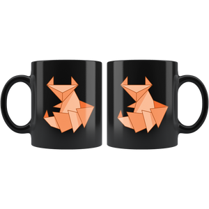 Origami Fox Coffee Mug Cute Paper Folding Design Orange Red Fox - Hundredth Monkey Tees