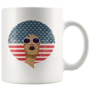 African American Queen Bohemian Coffee Mug Vintage Retro Afro Red White Blue Flag - Hundredth Monkey Tees