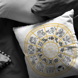 Astrology Throw Pillow Zodiac Wheel Horoscope Signs Floor Cushion - Hundredth Monkey Tees