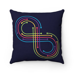Rainbow Infinity Symbol Throw Pillow Pride Autism Awareness Neurodiversity Spun Polyester Square - Hundredth Monkey Tees