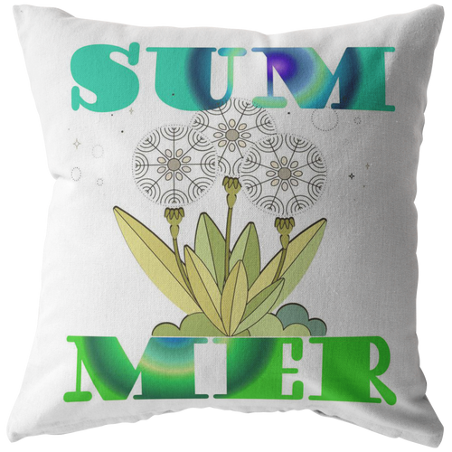 Summer Throw Pillow Word Art Seasonal Gift - Hundredth Monkey Tees