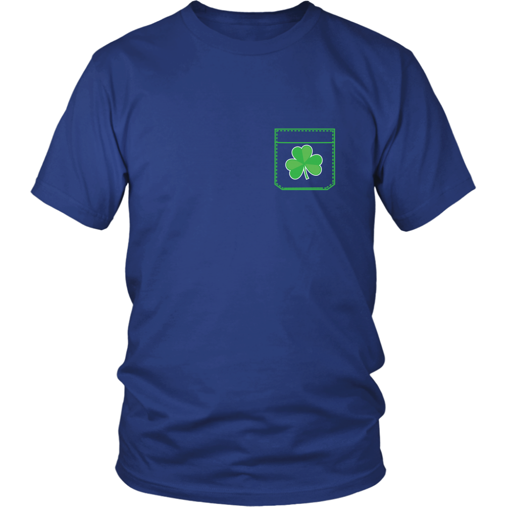 Pocket Shamrock Tshirt Lucky Irish St Patricks Day Shirt - Hundredth Monkey Tees