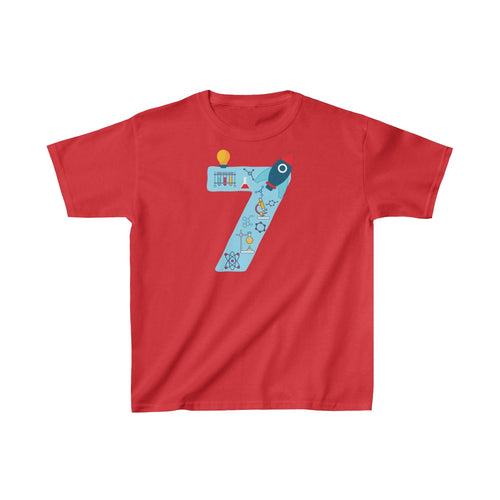Youth Blue Number #7 Years Old Shirt Science Birthday  Kids Heavy Cotton™ Tee - Hundredth Monkey Tees
