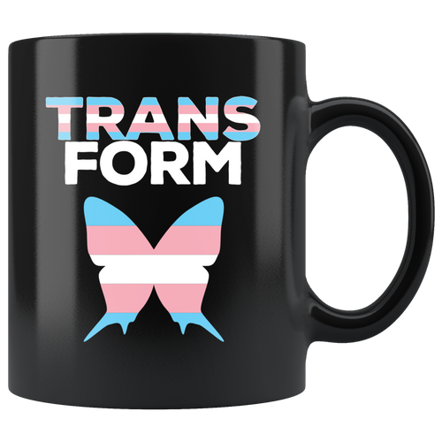 Butterfly Transgender Flag Coffee Mug Transform Pink Blue White - Hundredth Monkey Tees