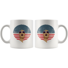 Load image into Gallery viewer, African American Queen Bohemian Coffee Mug Vintage Retro Afro Red White Blue Flag - Hundredth Monkey Tees