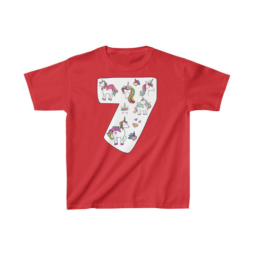 Youth Shirt Number #7 Years Old Alicorn Unicorn T-Shirt Birthday Seven