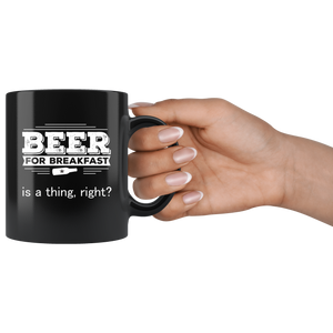 Beer for Breakfast Coffee Mug Funny Morning AM Drinking - Hundredth Monkey Tees