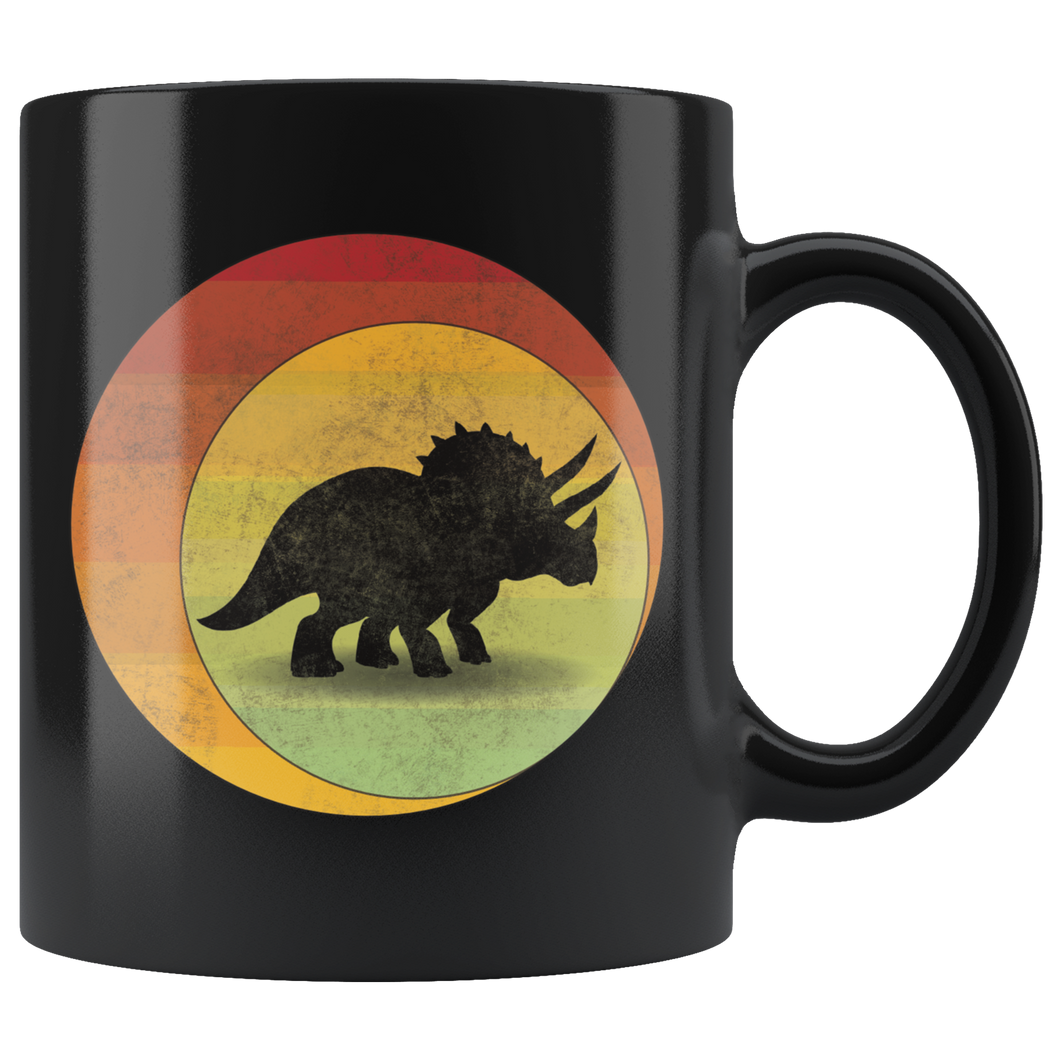 Retro Triceratops Coffee Mug Dinosaur Eclipse Grunge Distressed Style - Hundredth Monkey Tees