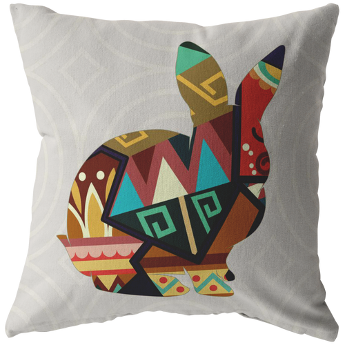 Geometric Rabbit Throw Pillow Bohemian Bold Bunny Home Decor - Hundredth Monkey Tees