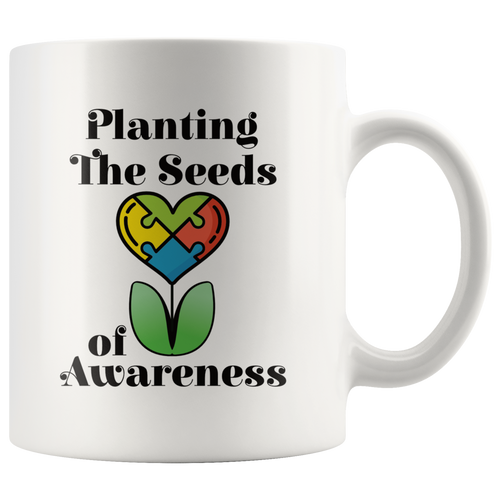 Autism Awareness Coffee Mug Planting the Seeds Puzzle Piece - Hundredth Monkey Tees