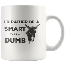 Load image into Gallery viewer, Smartass Dumb Ass Donkey Coffee Mug Funny Gift for Farm Animal Lovers - Hundredth Monkey Tees