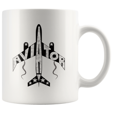 Load image into Gallery viewer, Aviator Coffee Mug Pilots Gift Airplane Jet Word Design - Hundredth Monkey Tees