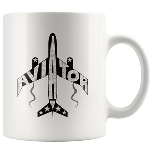 Aviator Coffee Mug Pilots Gift Airplane Jet Word Design - Hundredth Monkey Tees