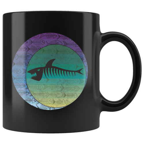 Retro Shark Bones Coffee Mug Geometric Eclipse Grunge Style Art - Hundredth Monkey Tees