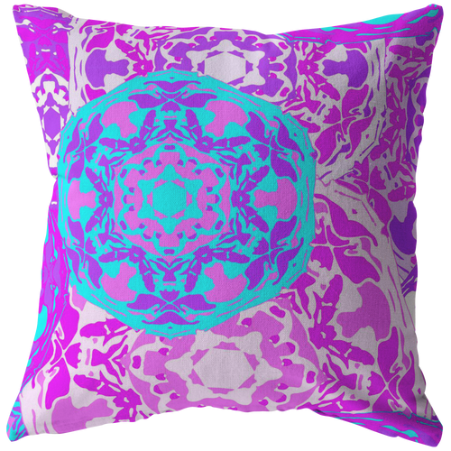 Bohemian Mandala Throw Pillow Pink Purple Bold Colorful Home Decor - Hundredth Monkey Tees