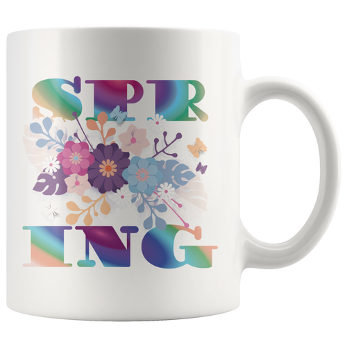 Spring Coffee Mug Table Decor Gifts Word Art Cup - Hundredth Monkey Tees