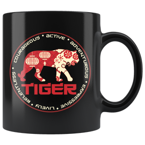 Chinese Zodiac Tiger Coffee Mug Astrology Horoscope Gift - Hundredth Monkey Tees