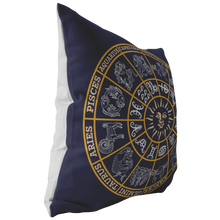Load image into Gallery viewer, Astrology Throw Pillow Deep Blue Zodiac Wheel Horoscope Signs Floor Cushion - Hundredth Monkey Tees