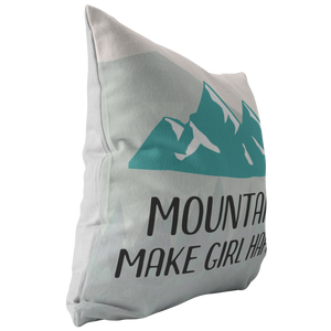 Mountains Make Girl Happy Throw Pillow for Outdoor Lovers PNW Camping