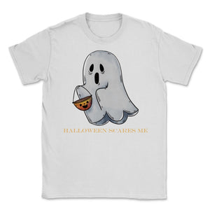 Cute Funny Ghost Halloween Scares Me product Unisex T-Shirt - White