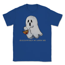 Load image into Gallery viewer, Cute Funny Ghost Halloween Scares Me product Unisex T-Shirt - Royal