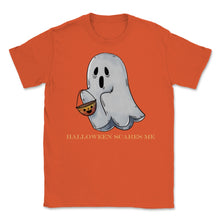 Load image into Gallery viewer, Cute Funny Ghost Halloween Scares Me product Unisex T-Shirt - Orange