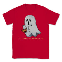 Load image into Gallery viewer, Cute Funny Ghost Halloween Scares Me product Unisex T-Shirt - Red