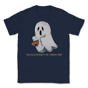 Cute Funny Ghost Halloween Scares Me product Unisex T-Shirt - Navy