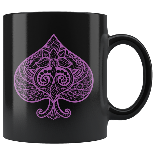 Purple Ace of Spades Playing Cards Symbol Poker Gambler Asexual Pride Coffee Mug - Hundredth Monkey Tees