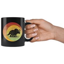 Load image into Gallery viewer, Retro Triceratops Coffee Mug Dinosaur Eclipse Grunge Distressed Style - Hundredth Monkey Tees